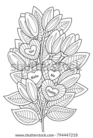 "Valentines Day doodle coloring book page  bouguet of flowers and hearts with text ""You make me happy"""