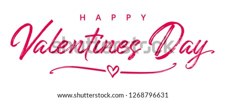 Valentines Day elegant paintbrush text banner. Valentine greeting card template with calligraphy happy valentine`s day and white heart in line on background. Vector illustration