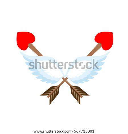 Shutterstock Valentines Day emblem. Cupid logo. Arrow heart and wings