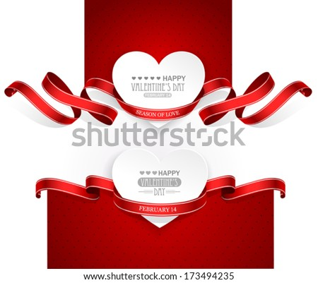 Valentines Day emblems with red ribbons. Vector