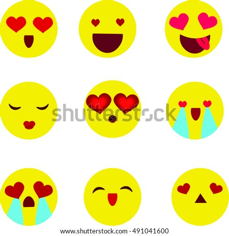 Valentines day emoticon icons, Love  set, isolated on white background, vector illustration.