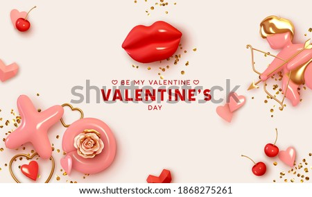 Valentines Day festive background on February 14. Holiday decor realistic 3d objects, love angel cupid, red lips, XO symbol, pair of cherries, render shape heart, Realism design banner and web poster.