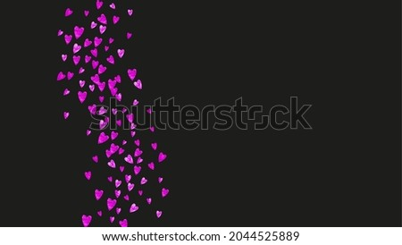 Valentines day frame with pink glitter sparkles. February 14th day. Vector confetti for valentines day frame template. Grunge hand drawn texture. Love theme for voucher, special business ad, banner. Stock fotó ©