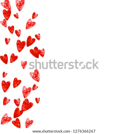 Valentines day frame with red glitter sparkles. February 14th day. Vector confetti for valentines day frame template. Grunge hand drawn texture. Love theme for flyer, special business offer, promo. #1276366267