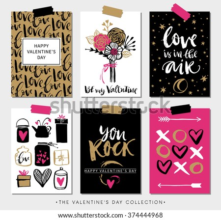 Valentines day gift cards. Calligraphy and hand drawn design elements. Handwritten modern lettering.