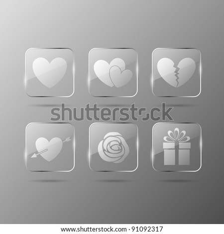 Valentines day glass icons - stock vector