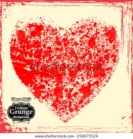 Valentines Day Greeting Card Vector Background With Grunge Heart