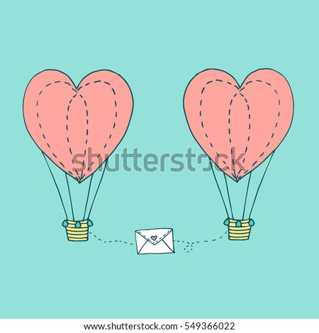 Valentines day greeting card with couple flying in the sky heart shaped balloons and love letter. Vector hand drawn illustration in minimalistic style, made with ink outlines #549366022