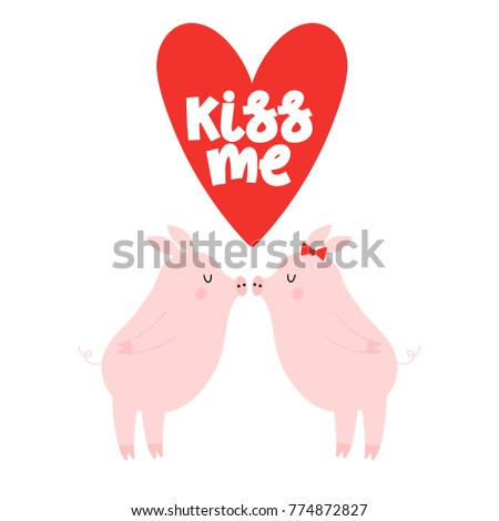 Valentines day greeting card with cute pigs in love and text Kiss me.