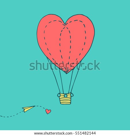 Valentines day greeting card with flying in the sky heart shaped balloon and paper plane. Vector hand drawn illustration in minimalistic style, made with ink outlines #551482144