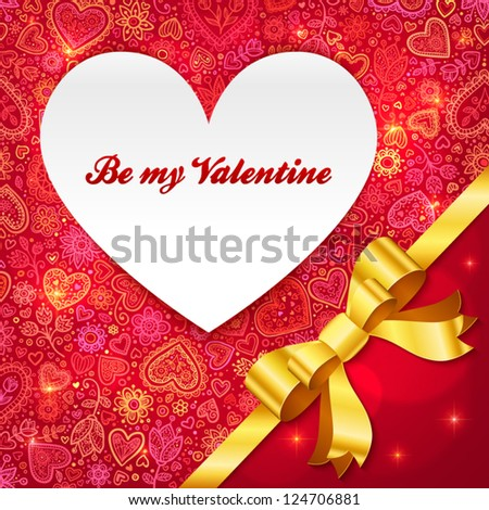 Valentines day greeting card with heart and golden ribbon - stock vector