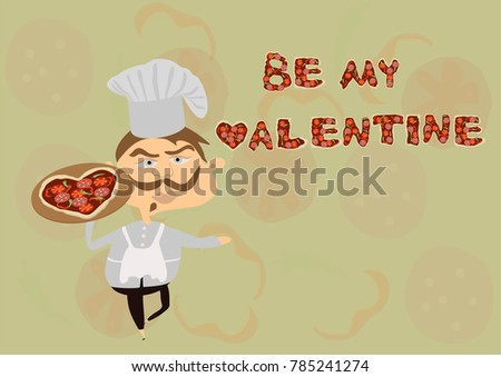 Valentines Day Greeting Cart. Be My Valentine Greeting Card. Pizza Man In  Love