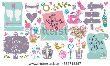 Valentines day hand drawn, scrapbooking design elements, icons set isolated on black background. Hand written font, lettering