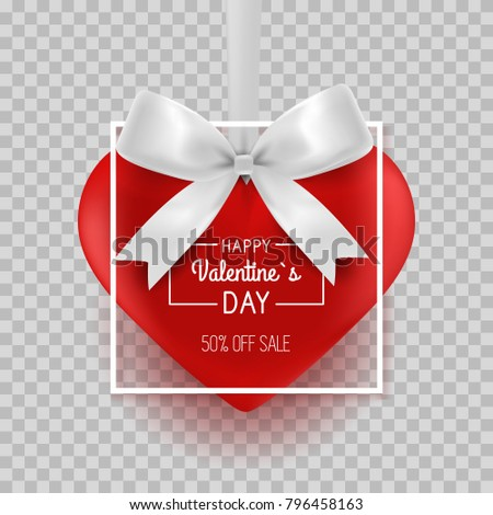 Valentines day hanging heart with border, ribbon and bow. Vector Wallpaper. Flyers, invitation, posters, brochure, sale, banners.