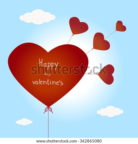 Valentines Day Heart Balloons on Blue Background #362865080