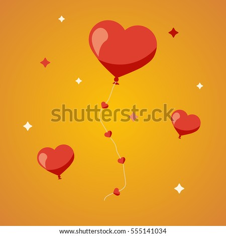 Valentines Day heart balloons on yellow background. Flat design.