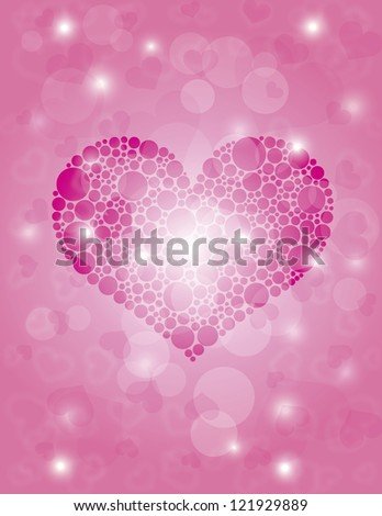 Valentines Day Hearts Polka Dots on Bokeh Background Illustration Vector