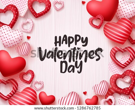Valentines day hearts vector background. Happy valentines day greeting card banner design with text in empty white space and red hearts shape elements. Vector illustration.  #1286762785