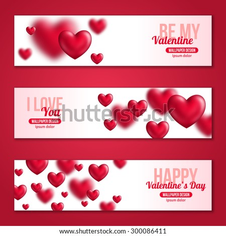 Valentines Day Horizontal Banners Set with Hearts for Holiday Design. Vector Illustration. Flying Shining Hearts. I love You, Happy Valentine\'s Day, Be My Valentine Concept.