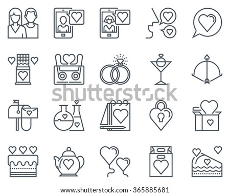 Valentines day icon set suitable for info graphics, websites and print media. Black and white flat line icons.