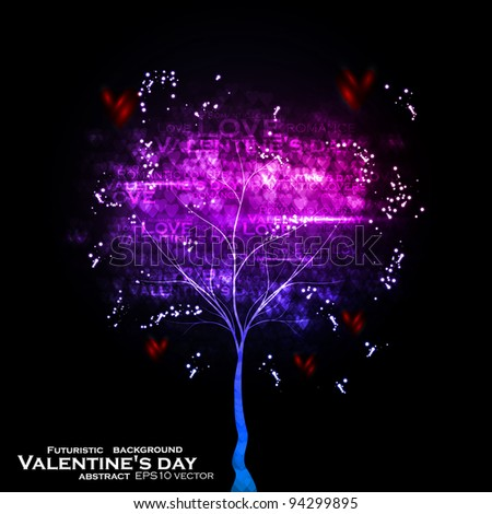 Valentines day illustration, abstract tree in the hearts background eps10