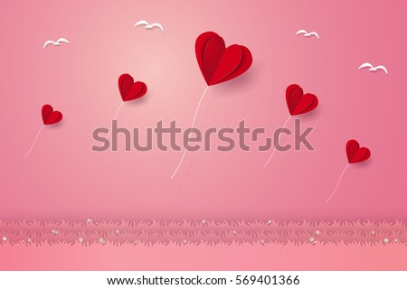 Valentines day , Illustration of love , Heart balloons flying over grass with birds , paper art style