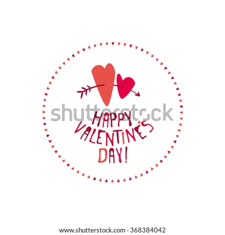 Valentines Day. Lettering. Greeting card. Vector illustration.