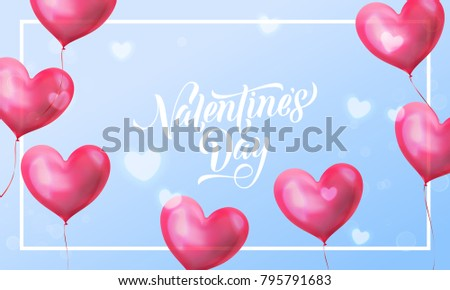 Valentines day lettering text on valentine red heart on blue light pattern background. Vector Happy Valentines day greeting card design template of glossy crystal heart #795791683