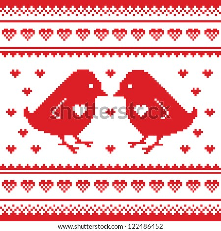 Valentines Day, love pixelated card with birds and hearts