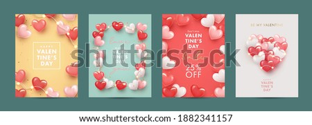 Valentines Day modern design Set for website banner, Sale, Valentine card, cover, flyer or poster with frame made of realistic white, pink, red 3d realistic hearts and garlands lights.
