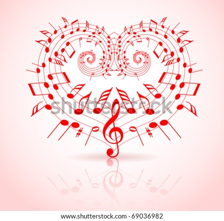 Valentines day music theme - notes thats make a heart - stock vector