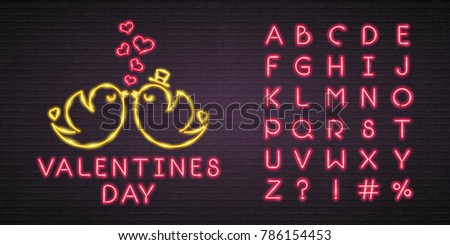 Valentines Day Neon Light Glowing Bright Bird Love and Alphabet Set Neon Red Colour