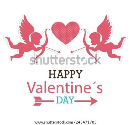 Valentines day over white background, vector illustration.