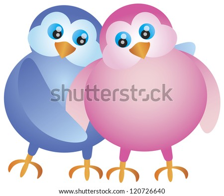 Valentines Day Pair of Lovebirds Hugging Illustration Isolated on White Background Vector