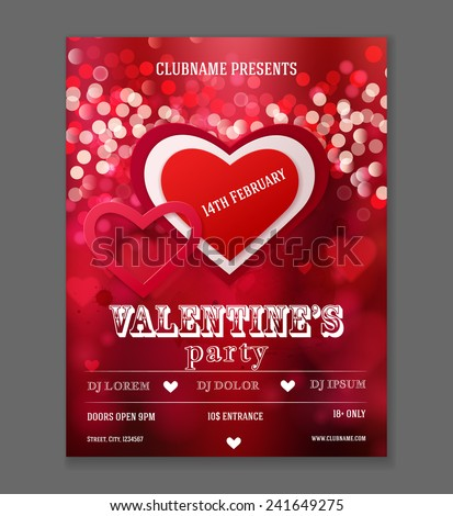Valentines Day Party Flyer Design. Vector template of invitation, flyer, poster or greeting card.