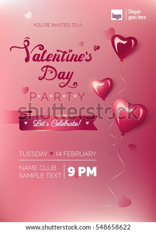 Valentines Day Party Flyer Template with blurred background and glossy heart-shaped balloons.Vector illustration