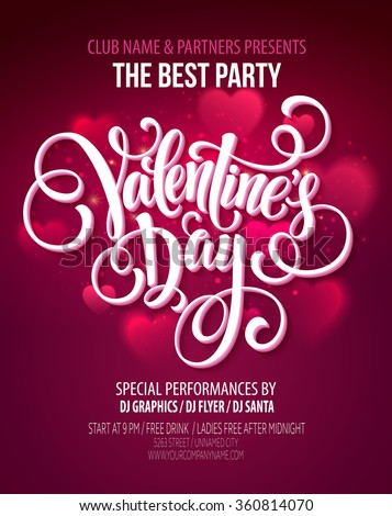 Valentines Day Party Flyer. Vector illustration EPS10
