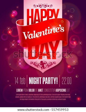 valentines day party flyer with