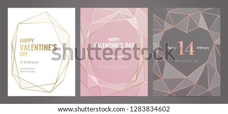 Valentines Day poster Luxury template with gold frame. Invitation template. Geometric shape. #1283834602