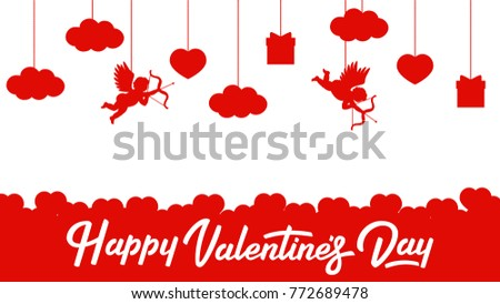 Valentines day poster. Red on white valentines day background.  Valentines day banner. Vector.