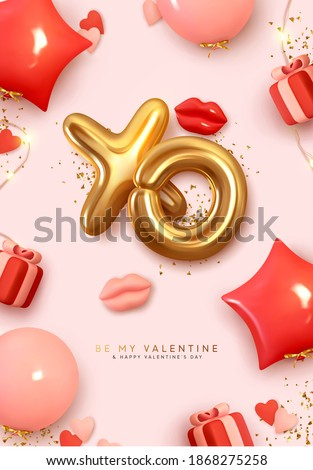 Valentines Day poster. Romantic creative Background Realistic 3d festive decorative objects, red lips, heart shaped balloons, XO symbol, falling gift box, glitter gold confetti. Holiday web banner