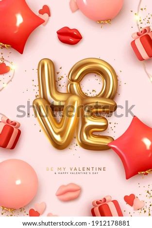 Valentines Day poster. Romantic creative Background Realistic 3d festive decorative objects, red lips, heart shaped balloon, love word text, falling gift box, glitter gold confetti. Holiday web banner