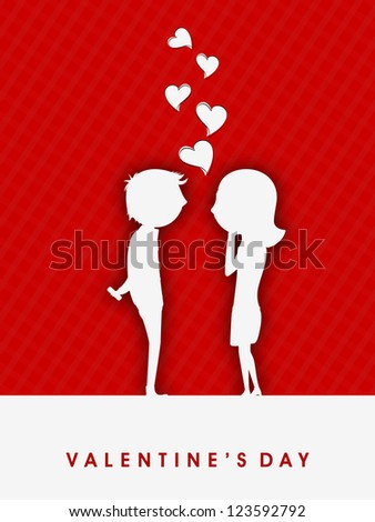 Valentines Day red greeting card or gift card with white silhouette of cute love couples. EPS 10. #123592792