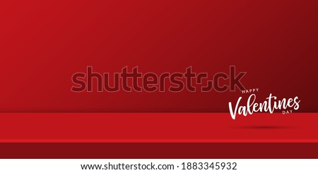 Valentines Day. Red studio background. Empty modern red background with white text Happy Valentines Day. Vector illustration Stock photo ©