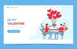 Valentines day romantic dating gift card landing page. Lovers relationship two people. Couple sitting on bench. Loving couple on bench. Cheerful young couple sitting close to each other and smiling.