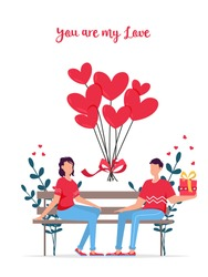 Valentines day romantic dating gift card. Lovers relationship two people. Couple sitting on bench. Loving couple on bench. Cheerful young couple sitting close to each other and smiling.