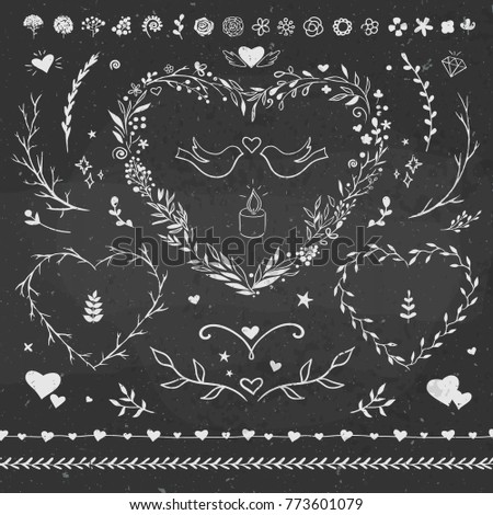 Valentines Day romantic floral set on a chalkboard. Floral frames, curls, hearts and borders for romantic decorations.
