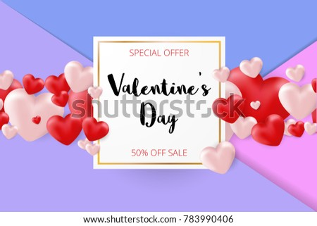 Valentines day sale background. Vector illustration. Wallpaper, flyers, invitation, posters, brochure, banners. #783990406