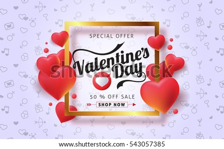 Valentines day sale background with balloons heart and icon set pattern. Vector illustration. Wallpaper, flyers, invitation, posters, brochure, banners.