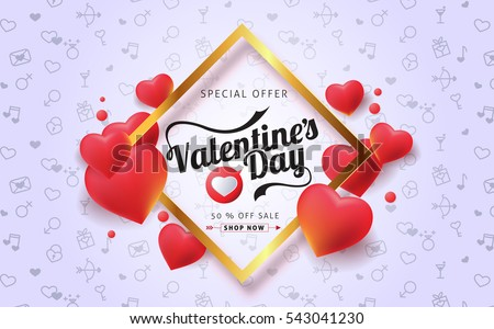 Valentines day sale background with balloons heart. Vector illustration. Wallpaper.flyers, invitation, posters, brochure, banners.